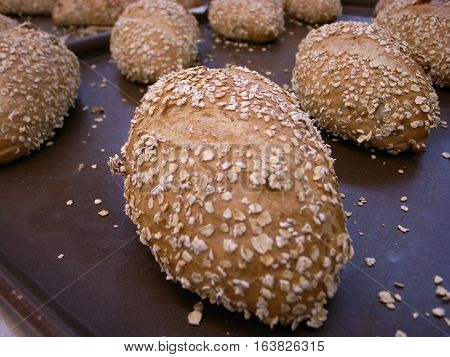 Whole wheat bread with seeds on table