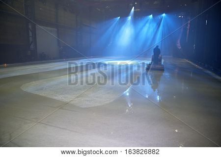 Ice Floor With Stage Lights And Ice Mopping Machine
