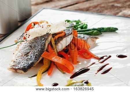 Seafood Fish Serving Creative Cuisine Mediterranean Gourmet Delicatessen Food Restaurant Concept
