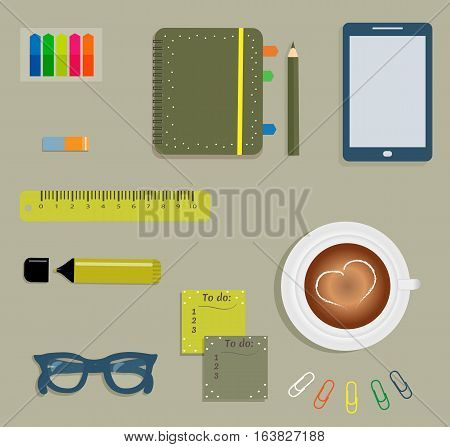 Stationery: Green day planner spiral-bound with cute polka dots and tabs.Stiсkers. Markers Dark blue glasses.Pencil.Clips. Mobile phone. Smartphone. A cup of coffee with a heart. Vector illustration.