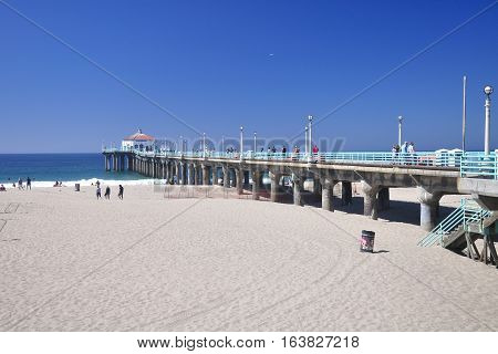 September 20 2016. Manhattan Beach California. People walking on the landmark manhattan beach pier in Manhattan Beach California on the pacific ocean.