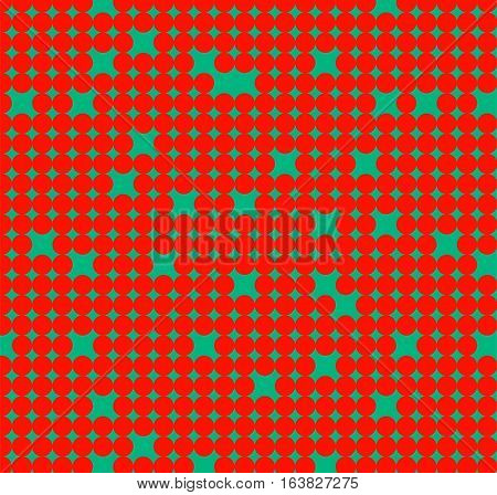 Seamless pattern with little red circles on green background