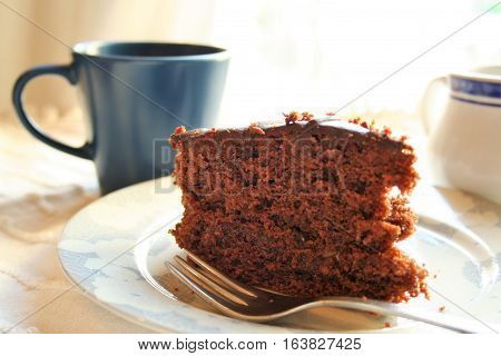 a slice of sacher torte with a cup of coffee