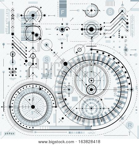 Vector industrial and engineering background future technical plan. Perspective blueprint of mechanism mechanical scheme. For use as website background.