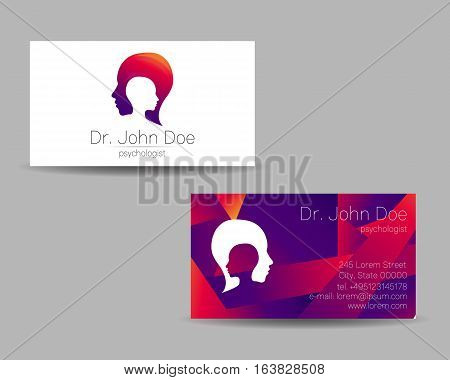 Psychology vector visit card. Modern logo. Creative style. Design concept. Brand company. Violet color isolated on gray background. Symbol for web, print. vVsiting personal set illustration