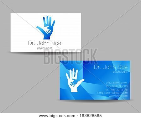 Psychology vector visit card. Modern logo. Creative style. Design concept. Brand company. Blue color isolated on gray background. Symbol for web, print. vVsiting personal set illustration