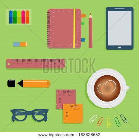 Stationery: Red day planner spiral-bound with cute polka dots and tabs.Stiсkers. Markers Dark blue glasses.Pencil.Clips. Mobile phone. Smartphone. A cup of coffee with a heart. Vector illustration.