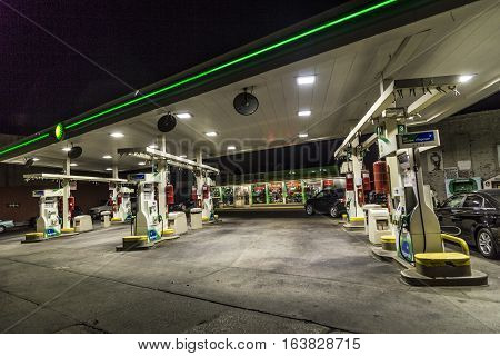 Open Petrol Station In Brooklyn, New York