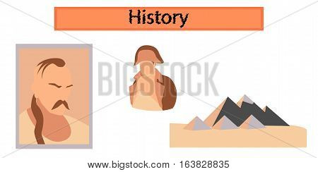 assembly flat icons school History Lesson pyramid