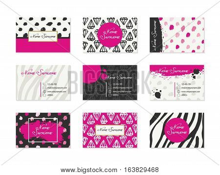 Set of Business Cards with hand drawn design elements made with ink in black, white and bright pink colors. Modern abstract style for identity design. Vector illustration.