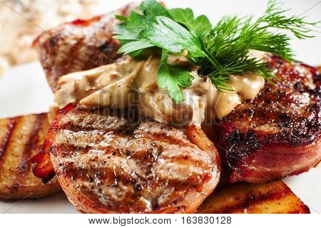Food Grill Pork Meat Junk Fat Snack Grill Nutrition Dining Concept