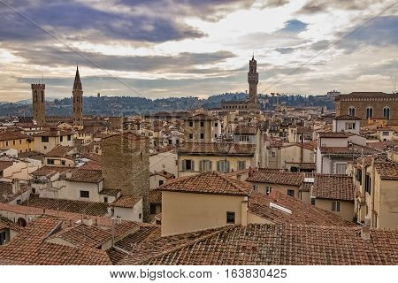 Beautiful aerial view of Florence from the observation platform of Campanile di Giotto. Florence is the ancient capital city of the Italian region of Tuscany and of the Metropolitan City of Florence.