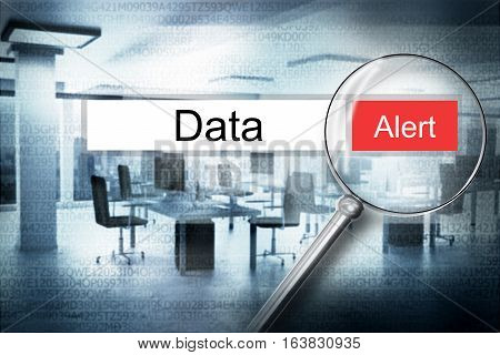 reading the word data browser search alert 3D Illustration