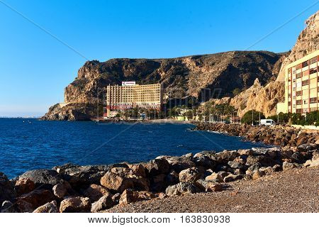 Almeria Spain - December 27 2017: Diving hotel at the almeria coast at winter. Southern Spain.