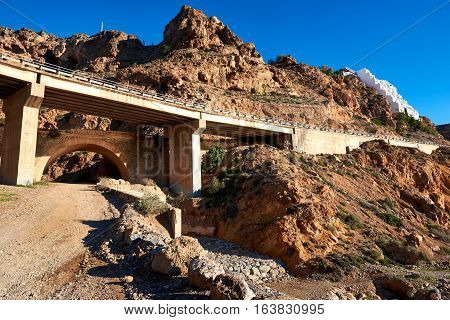 Viaduct between Aguadulce and Almeria cities. Southern Spain