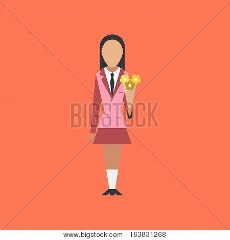 flat icon on stylish background school schoolgirl flowers