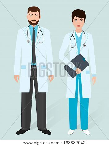 Hospital staff concept. Male and female doctors in medical gowns. Medical people. Flat style vector illustration.