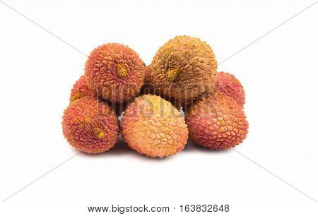 fresh exotic fruits litchis on white background