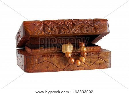 Antique wooden handmade Carved casket or box isolated on white