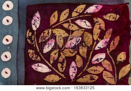 Tree Branches With Leaves On Crimson Background, Hot Batik, Background Texture, Handmade On Silk, Ab