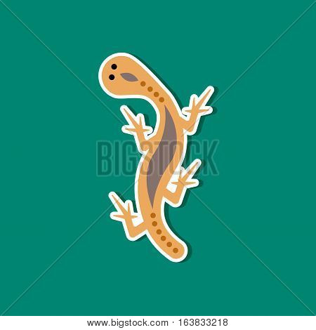 paper sticker on stylish background of lizard reptile