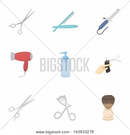 Hairdresser set icons in cartoon style. Big collection of hairdresser vector symbol stock