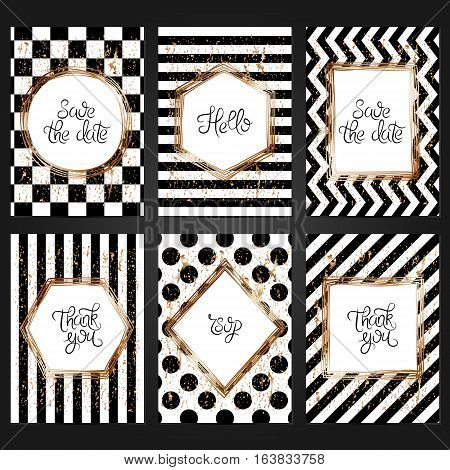 Collection of 6 vintage card templates in black and white colors and with copper frame. For the wedding marriage save the date cards invitations greetings. Grunge retro design with copper paint.