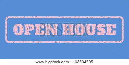 Pink rubber seal stamp with Open House text. Vector message inside rounded rectangular banner. Grunge design and dirty texture for watermark labels. Horisontal sign on a blue background.