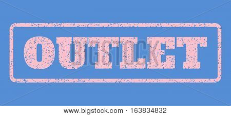Pink rubber seal stamp with Outlet text. Vector message inside rounded rectangular banner. Grunge design and dirty texture for watermark labels. Horisontal sign on a blue background.
