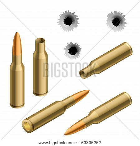 Isometric shot gun bullets and bullet holes isolated on white background. Ammunition, guns, military illustration