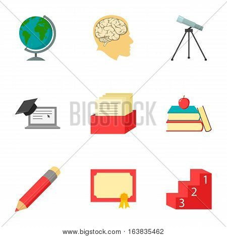 School set icons in cartoon style. Big collection of school vector symbol stock