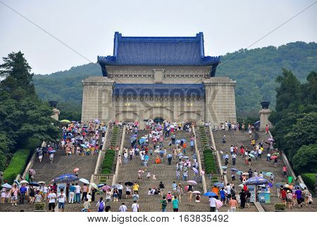 NANJING, CHINA - JUL.3, 2012: Dr. Sun Yat-sen Mausoleum (Zhongshan Ling) in Purple Mountain, Nanjing, Jiangsu Province, China. Dr. Sun Yat-sen is regarded as Father of Modern China.