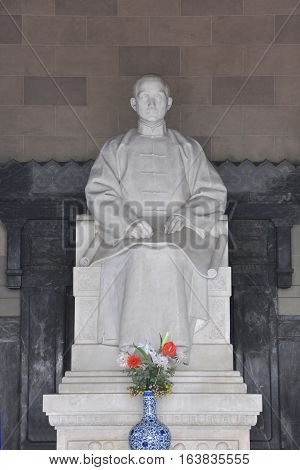 Statue of Dr. Sun Yat-sen in his Mausoleum (Zhongshan Ling) in Purple Mountain, Nanjing, Jiangsu Province, China.