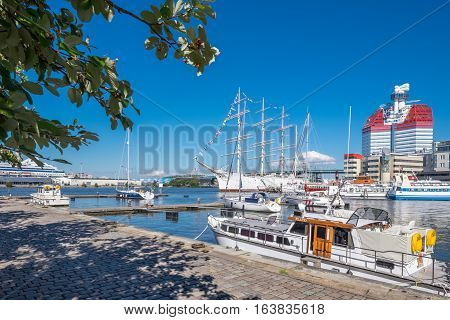 GOTHENBURG - SEPTEMBER 4, 2014: Lilla bommen harbor with famous ship Viking in Gothenburg. Viking is a four-masted steel barque built in 1906, which currently is used as a hotel.