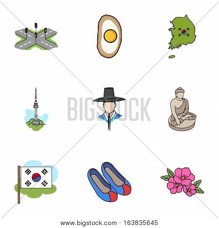South Korea set icons in cartoon style. Big collection of South Korea vector symbol stock