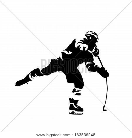 Ice hockey player shooting puck abstract black vector silhouette