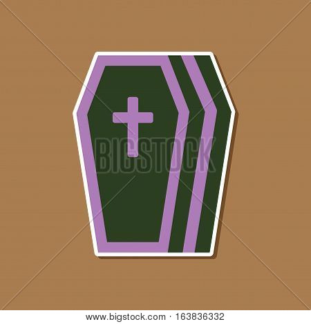 paper sticker on stylish background of halloween coffin