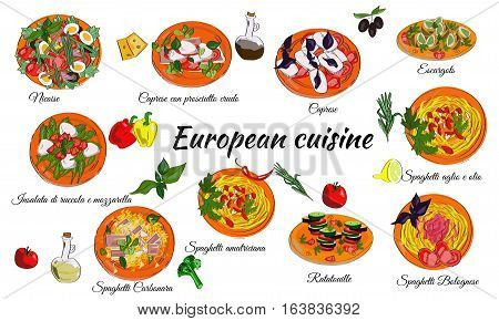 European cuisine menu of main dishes. French and Italian food.