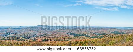 Panorama of Appalachian mountain valley in West Virginia from Spruce Knob