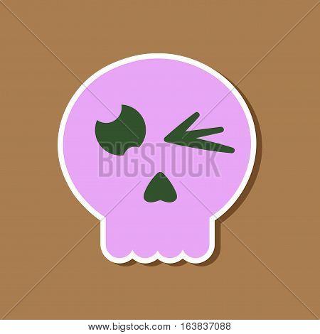 paper sticker on stylish background of halloween emotion skull
