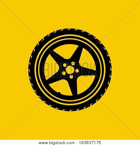Car wheel icon isolated on yellow background. Tire service concept silhouette, pictogram. Logo garage, vehicle maintenance, road sign. Vector illustration flat design.