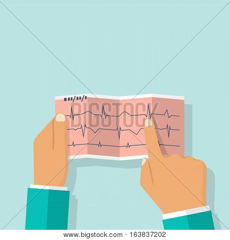 Male doctor holding cardiogram in hand. Studying the electrocardiogram.  Medical background. Healthcare concept. Vector illustration flat design. Cardiologist makes diagnoses.