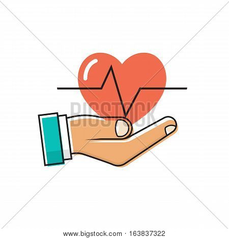 Doctor holding a heart in hand. Red heartbeat with life line. Cardiology concept. Health protection. Symbol healthcare. Vector illustration flat minimal design. Isolated on white background.