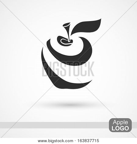 Abstract stylized apple. Dark icon isolated on light background for your design. Vector illustration