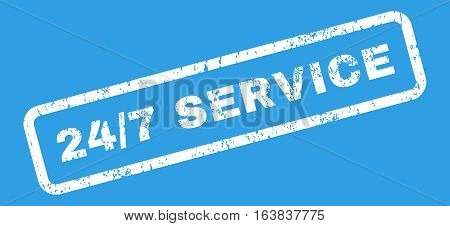 24 Slash 7 Service Text rubber seal stamp watermark. Tag inside rectangular banner with grunge design and unclean texture. Slanted glyph white ink sign on a blue background.