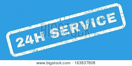 24H Service Text rubber seal stamp watermark. Tag inside rectangular banner with grunge design and unclean texture. Slanted glyph white ink emblem on a blue background.
