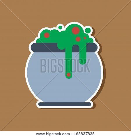 paper sticker on stylish background of halloween witches cauldron
