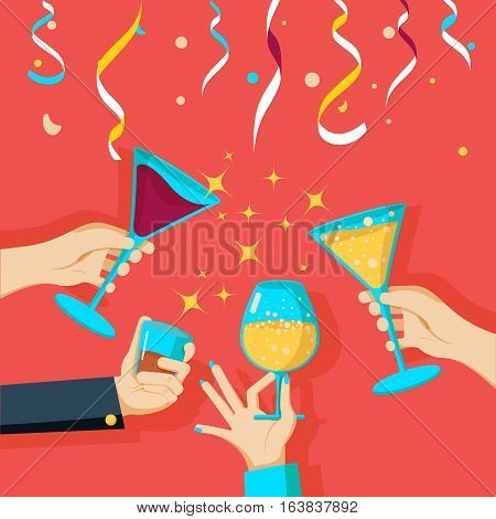 People clinking glasses of champagne in human hands on confetti and streamers background, vector illustration