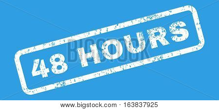 48 Hours Text rubber seal stamp watermark. Caption inside rectangular shape with grunge design and dirty texture. Slanted glyph white ink emblem on a blue background.