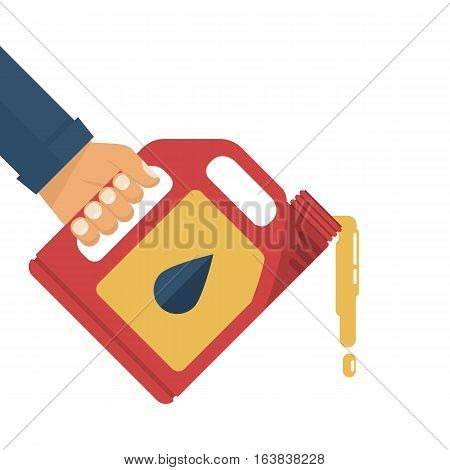 Replacement motor oil. Car mechanic holding a canister of motor oil, isolated on white background. Station service maintenance. Lubrication engine and mechanisms. Vector illustration flat design. poster